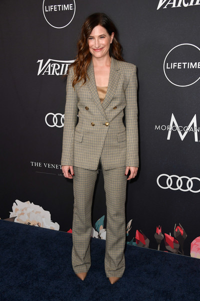 Kathryn Hahn Pantsuit [suit,clothing,pantsuit,formal wear,fashion,carpet,footwear,outerwear,red carpet,premiere,arrivals,kathryn hahn,power of women,variety,los angeles,beverly hills,california,beverly wilshire four seasons hotel]