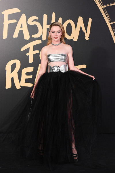 Kathryn Newton Sheer Skirt [red carpet arrivals - fashion for relief london,dress,clothing,fashion,beauty,gown,premiere,haute couture,little black dress,event,strapless dress,london,england,british museum,kathryn newton]