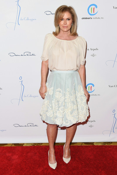 Kathy Hilton Loose Blouse [colleagues,oscar de la renta,kathy hilton,clothing,white,dress,cocktail dress,red carpet,shoulder,fashion,hairstyle,footwear,premiere,annual spring luncheon,beverly hills,california,beverly wilshire four seasons hotel]