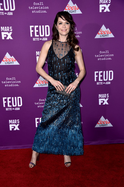 Katie Aselton Embroidered Dress [feud: bette and joan,red carpet,carpet,clothing,premiere,flooring,dress,event,magenta,performance,talent show,katie aselton,arrivals,joan,fx networks feud: bette,california,hollywood,fx network,premiere,premiere]