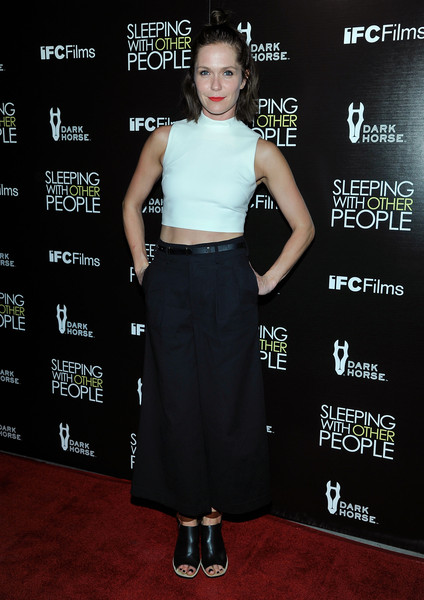 Katie Aselton Crop Top [sleeping with other people,los angeles premiere of ifc films,clothing,carpet,premiere,waist,crop top,fashion,flooring,dress,red carpet,event,katie aselton,dark horse wine presents,los angeles,california,ifc films,dark horse,premiere]