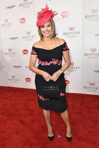 Katie Couric Off-the-Shoulder Dress [red carpet,flooring,shoulder,lady,carpet,fashion,joint,fashion model,little black dress,girl,red carpet,katie couric,churchill downs,louisville,kentucky,kentucky derby]