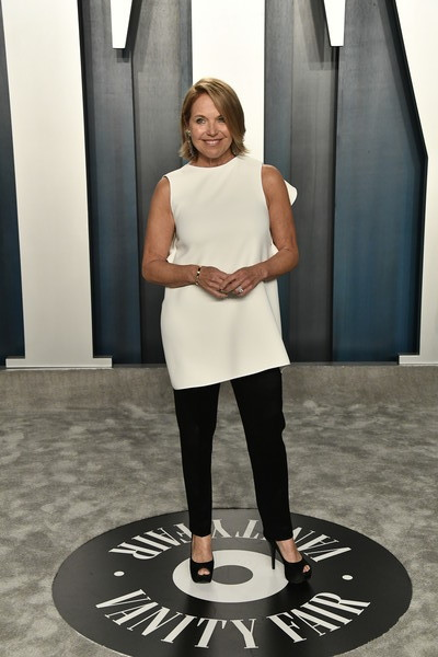 Katie Couric Skinny Pants [white,fashion,shoulder,standing,joint,fashion design,photography,style,shoe,radhika jones - arrivals,radhika jones,katie couric,beverly hills,california,wallis annenberg center for the performing arts,oscar party,vanity fair,radhika jones,wallis annenberg center for the performing arts,oscar party,vanity fair,celebrity,academy awards,hollywood,party,photograph]