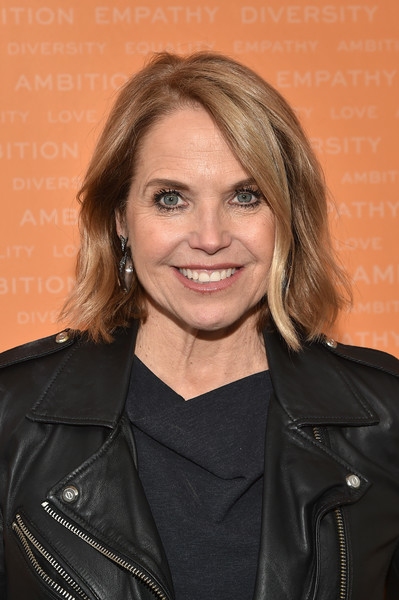 Katie Couric Bob [hair,hairstyle,leather,jacket,layered hair,brown hair,smile,official,leather jacket,katie couric,new york city,alice tully hall,tory burch foundation,embrace ambition summit,the tory burch foundation 2018 embrace ambition summit]