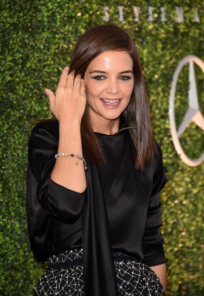 Katie Holmes Beaded Bracelet [hair,clothing,hairstyle,long hair,beauty,little black dress,fashion,leather,smile,black hair,arrivals,katie holmes,stylemakers,stylemakers,culver city,variety,wwd,wwd and variety,event,event]