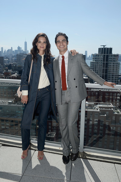 Katie Holmes Classic Jeans [suit,clothing,blazer,snapshot,formal wear,fashion,outerwear,standing,street fashion,pantsuit,zac posen,katie holmes,brooks brothers ss 2017 presentation,the glasshouses,new york city,new york fashion week]