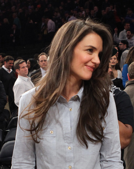 Katie Holmes Feathered Flip [hair,hairstyle,long hair,blond,beauty,lip,brown hair,layered hair,fashion,premiere,katie holmes,user,user,note,terms,conditions,new york city,golden state warriors,new york knicks,game]
