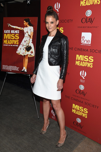Katie Holmes Leather Jacket [clothing,leg,premiere,dress,cocktail dress,thigh,event,flooring,red carpet,carpet,arrivals,katie holmes,screening,miss meadows,neuehouse,new york city,cinema society olay host a screening of entertainment one,the cinema society,olay host]