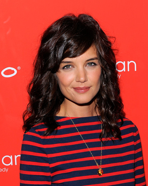 Katie Holmes Gold Pendant [the extra man,hair,face,hairstyle,eyebrow,layered hair,chin,forehead,bangs,black hair,premiere,katie holmes,new york,village east cinema,red carpet,premiere]