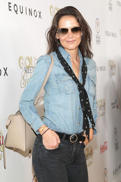 Katie Holmes Patterned Scarf [eyewear,clothing,jeans,denim,hairstyle,shoulder,sunglasses,waist,outerwear,fashion design,katie holmes,california,los angeles,cw3pr presents gold meets golden at equinox sports club,equinox sports club,gold meets golden]