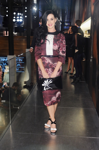 Katy Perry Patent Leather Clutch [fashion show,fashion model,fashion,runway,clothing,fashion design,event,haute couture,black hair,catherine martin,katy perry,miuccia prada dress gatsby opening cocktail,new york city,prada]
