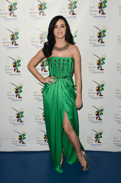 Katy Perry Strapless Dress [music,music,green,fashion model,shoulder,flooring,dress,fashion,carpet,joint,leg,photo shoot,arrivals,katy perry,paul newman,carole king,benefit,the painted turtle camp,a celebration of carole king,celebration]