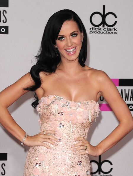 Katy Perry Diamond Ring [hair,clothing,dress,shoulder,strapless dress,hairstyle,beauty,long hair,eyelash,cocktail dress,arrivals,katy perry,american music awards,los angeles,california,nokia theatre l.a. live]