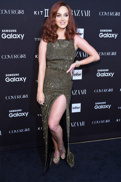 Katy Perry Platform Sandals [dress,clothing,shoulder,cocktail dress,leg,joint,premiere,fashion model,thigh,fashion,new york city,the plaza hotel,harpers bazaar icons event,katy perry]