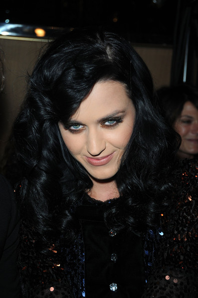 Katy Perry Long Curls with Bangs [show,hair,black hair,face,lip,eyebrow,hairstyle,lady,beauty,nose,chin,sonia rykiel,katy perry,pret a porter,part,boutique rykiel,paris,france,paris womenswear fashion week spring,paris fashion week]
