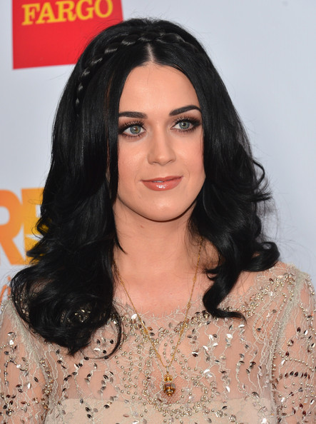 Katy Perry Long Partially Braided [hair,face,hairstyle,eyebrow,black hair,lip,chin,forehead,long hair,brown hair,katy perry,audi of america for the trevor project - arrivals,the trevor projects trevor live,trevor live,hollywood palladium,california,event]