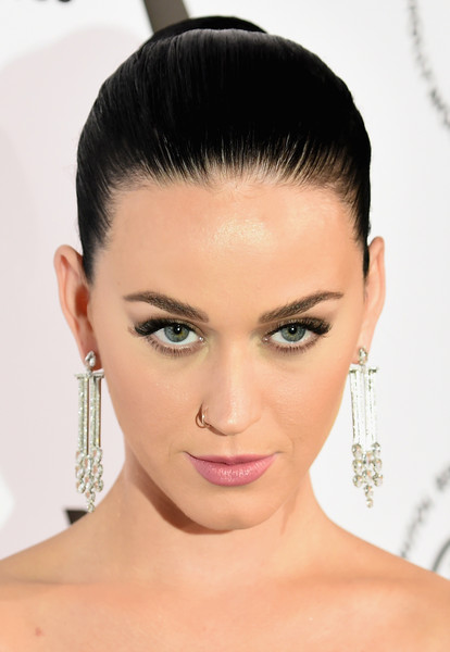 Katy Perry Pink Lipstick [katy perry,capitol records 75th anniversary gala - arrivals,face,hair,eyebrow,hairstyle,forehead,chin,lip,eyelash,skin,beauty,perry capitol records 75th anniversary gala,los angeles,california,capitol records tower]