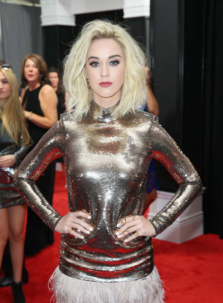 Katy Perry Bright Nail Polish [clothing,carpet,red carpet,blond,lady,fashion,flooring,latex clothing,lip,dress,fiji water,katy perry,annual grammy awards,staples center,los angeles,california,the 59th annual grammy awards]