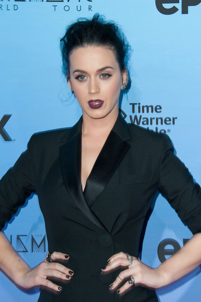 Katy Perry Dark Nail Polish [hair,hairstyle,beauty,black hair,dress,white-collar worker,formal wear,little black dress,long hair,electric blue,katy perry,arrivals,ace hotel downtown la,california,los angeles,the theatre,screening of epix,katy perry: the prismatic world tour]