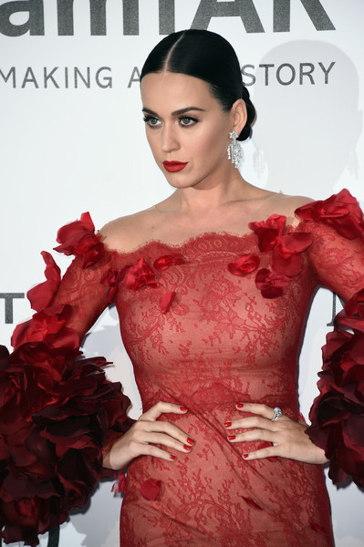 Katy Perry Red Nail Polish [fashion model,red,fashion,beauty,hairstyle,dress,lip,haute couture,flooring,carpet,arrivals,katy perry,france,cap dantibes,hotel du cap-eden-roc,amfar,cinema against aids gala]