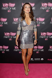 Michelle Bridges pulled this deep-plunging sequined dress off without a hitch!