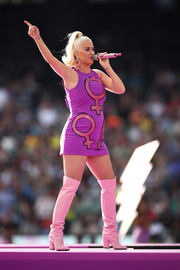 Pink over-the-knee boots completed Katy Perry's quirky ensemble.