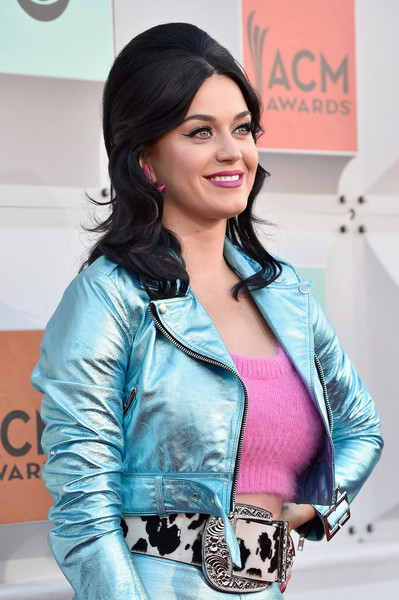 Katy Perry Bouffant [katy perry,arrivals,beauty,outerwear,textile,photography,fashion design,jacket,black hair,fashion accessory,jeans,style,academy of country music awards,nevada,las vegas,mgm grand garden arena]