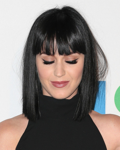 Katy Perry Medium Straight Cut with Bangs [celebrates 35th anniversary gala,katy perry,louis vuitton,arrivals,hair,face,hairstyle,black hair,bangs,eyebrow,chin,lip,bob cut,shoulder,moca,los angeles,california,museum of contemporary art los angeles,the geffen contemporary]