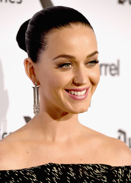 Katy Perry Classic Bun [dark horse,pop music,hair,face,hairstyle,eyebrow,lip,skin,chin,beauty,forehead,shoulder,katy perry,capitol records 75th anniversary gala - arrivals,hair,hairstyle,face,eyebrow,capitol records tower,capitol records 75th anniversary gala,katy perry,dark horse,capitol records,celebrity,actor,pop music]