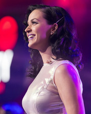 Katy Perry looked lovely with her bouncy shoulder-length curls at the iHeartRadio album release party.