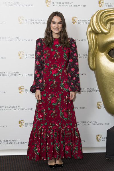 Keira Knightley Print Dress [keira knightley a life in pictures,clothing,dress,fashion,red,red carpet,fashion model,carpet,flooring,premiere,fashion design,keira knightley,london,england,bafta,photocall]