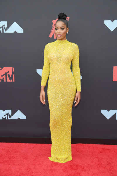 Keke Palmer Form-Fitting Dress [red carpet,carpet,clothing,dress,yellow,flooring,shoulder,fashion,premiere,neck,carpet,keke palmer,mtv video music awards,red carpet,music award,clothing,cardi b,newark,new jersey,prudential center,cardi b,2018 mtv video music awards,red carpet,mtv video music award,celebrity,music,mtv,music award,2018]