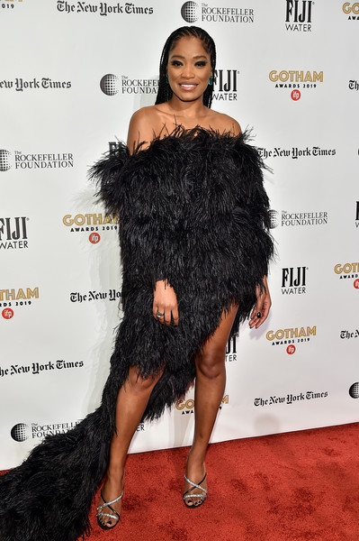 Keke Palmer Off-the-Shoulder Dress [red carpet,clothing,dress,hairstyle,fashion,shoulder,carpet,red carpet,joint,little black dress,fur,keke palmer,new york city,cipriani wall street,ifp,29th annual gotham independent film awards]