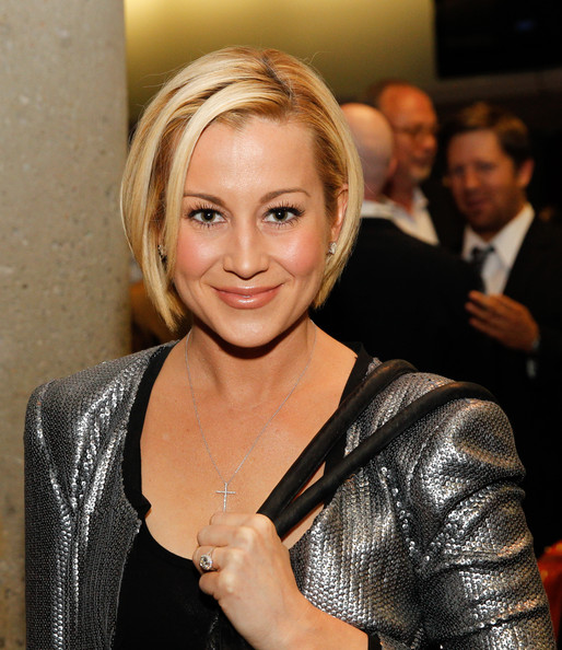 Kellie Pickler Bob [hair,blond,hairstyle,layered hair,textile,event,long hair,smile,leather,kellie pickler,nashville convention center,tennessee,crs 2014 - country radio hall of fame cocktail party,country radio hall of fame,cocktail party]