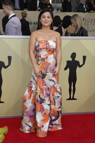 Kelly Marie Tran Strapless Dress [red carpet,clothing,carpet,dress,fashion,premiere,flooring,shoulder,hairstyle,joint,arrivals,kelly marie tran,screen actors guild awards,los angeles,california,the shrine auditorium]