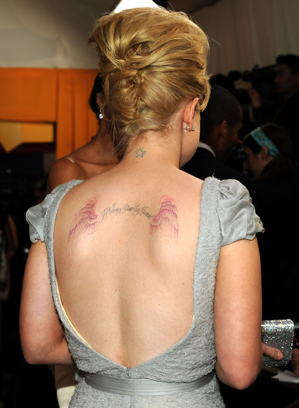 Kelly Osbourne Wings Tattoo [hair,shoulder,back,hairstyle,joint,tattoo,neck,arm,skin,chest,west hollywood,california,pacific design center,elton john aids foundation academy awards viewing party - show,kelly osbourne]