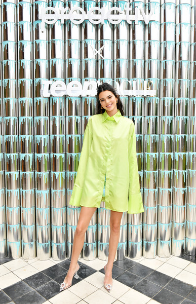 Kendall Jenner Shirtdress [paint positivity: because words matter,clothing,green,street fashion,yellow,fashion,dress,outerwear,sleeve,shoulder,footwear,kendall jenner,\u0153paint,positivity,proactiv,nyc,wythe hotel,teen vogue,kendall jenner joins proactiv,event]