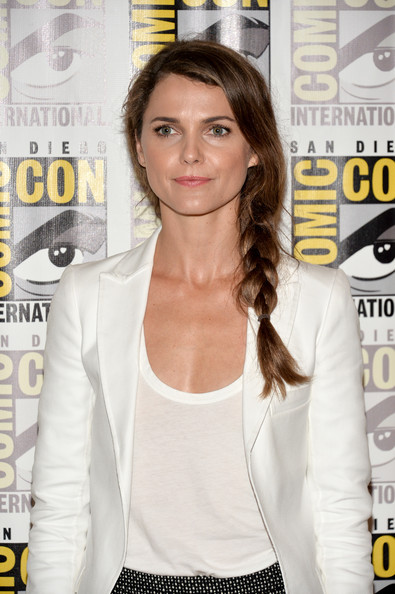 Keri Russell Long Braided Hairstyle [dawn of the planet of the apes,hairstyle,flooring,long hair,brown hair,carpet,product,girl,keri russell,line - comic-con international,wired cafe,san diego,california,comic-con]