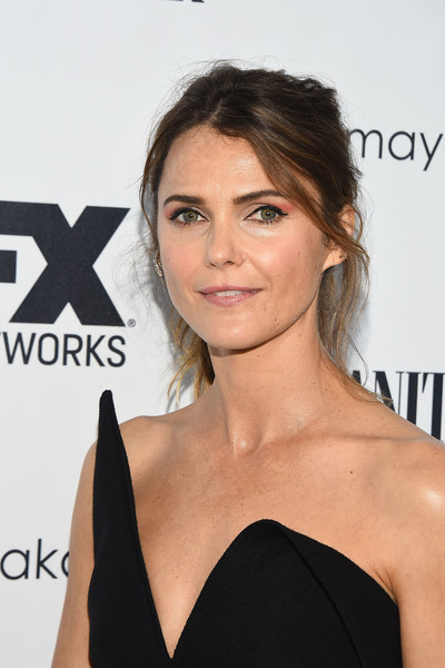 Keri Russell Ponytail [hair,face,hairstyle,shoulder,eyebrow,skin,beauty,chin,lip,dress,emmy celebration - arrivals,nominees,keri russell,fx,emmy,craft la,los angeles,vanity fair,fx networks,celebration]