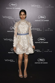 Freida Pinto was demure and elegant in an embroidered LWD by Elie Saab Couture at the Kering and Cannes Festival official dinner.