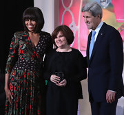 Michelle Obama chose a print wrap dress for the International Women of Courage Awards Ceremony.