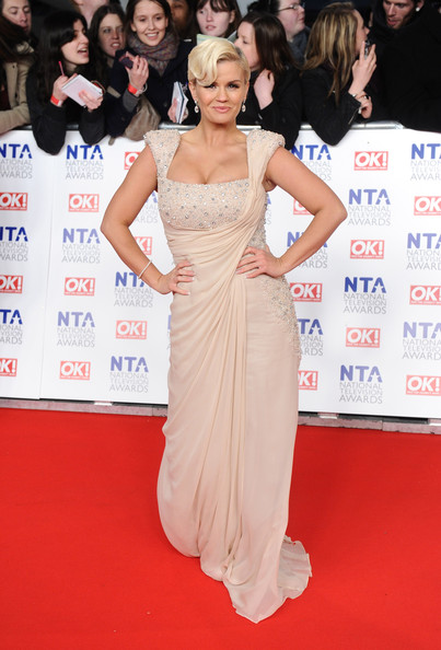 Kerry Katona Beaded Dress [red carpet,dress,clothing,carpet,shoulder,premiere,flooring,hairstyle,gown,event,arrivals,kerry katona,national television awards,arena,london,england]