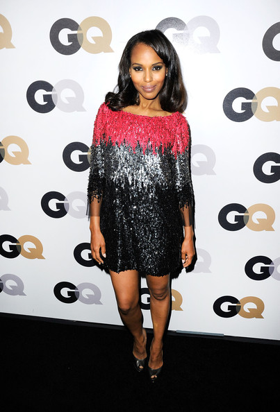 Kerry Washington Beaded Dress [men of the year,fashion model,little black dress,catwalk,flooring,fashion,shoulder,dress,joint,cocktail dress,carpet,party - arrivals,kerry washington,california,los angeles,chateau marmont,gq,party]