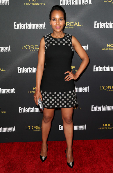 Kerry Washington Beaded Dress [clothing,dress,cocktail dress,little black dress,carpet,fashion,footwear,red carpet,premiere,joint,party - arrivals,kerry washington,west hollywood,california,fig olive melrose place,entertainment weekly,pre emmy party]