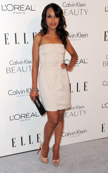 Kerry Washington Strapless Dress [elle,dress,clothing,cocktail dress,shoulder,fashion model,strapless dress,hairstyle,joint,fashion,footwear,17th annual women in hollywood tribute,beverly hills,california,the four seasons hotel,17th annual women in hollywood tribute - arrivals,kerry washington]