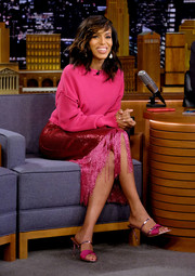 Kerry Washington glitzed up her top with a fringed and sequined pencil skirt, also by Sally LaPointe.