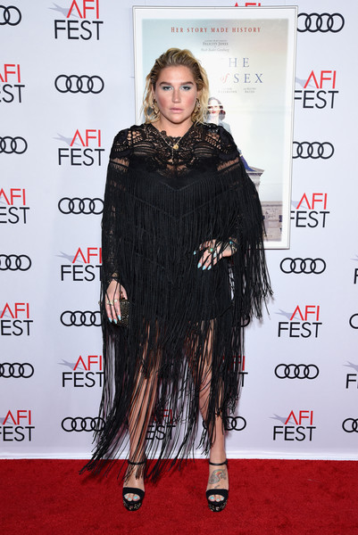 Kesha Platform Sandals [on the basis of sex,clothing,carpet,hairstyle,red carpet,shoulder,premiere,long hair,flooring,fashion,dress,arrivals,kesha,tcl chinese theatre,california,hollywood,audi,afi fest,opening night world premiere gala screening]