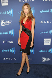 Josephine Skriver was edgy-chic at the GLAAD Media Awards in a red and black tux-style wrap dress.