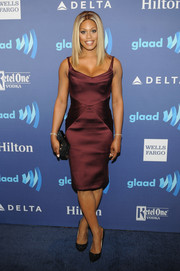 Laverne Cox looked very classy at the GLAAD Media Awards in a wine-colored cocktail dress by Zac Posen.