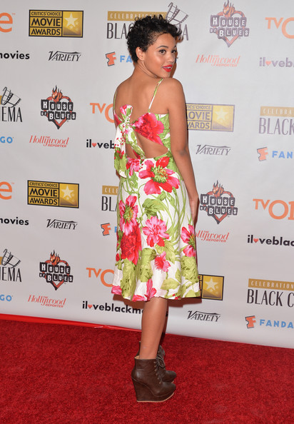 Kiersey Clemons Wedge Boots [clothing,red carpet,dress,shoulder,carpet,premiere,hairstyle,cocktail dress,fashion,strapless dress,kiersey clemons,west hollywood,california,house of blues sunset strip,broadcast film critics association,bfca celebration of black cinema - arrivals,broadcast film critics associations celebration of black cinema]